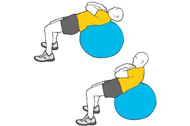 Encogimientos abdominales sobre pelota de pilates