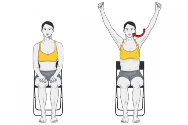 Expansión costal apertura de brazos. Posición sentada.