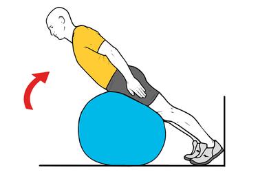 Extensión lumbar sobre pelota de pilates