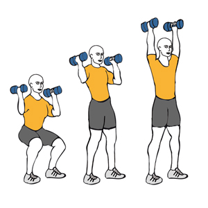 DUMBBELL SQUAT TO SHOULDER PRESS