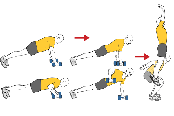 BURPEE WITH DUMBBELLS