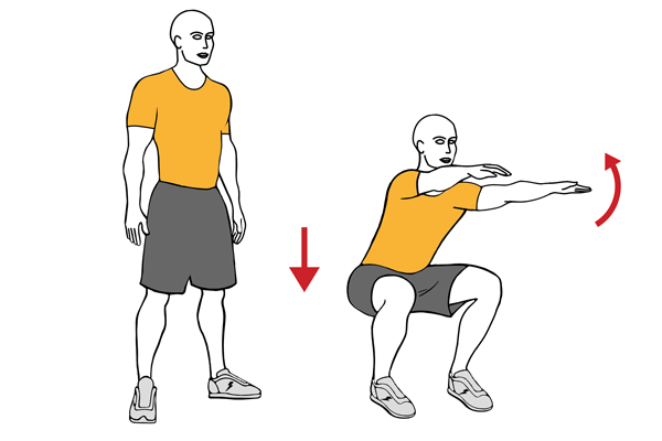 Half squat raising arms